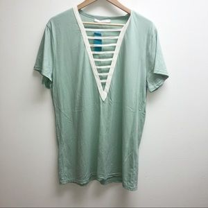 Dreamers Small mint v neck cut out top